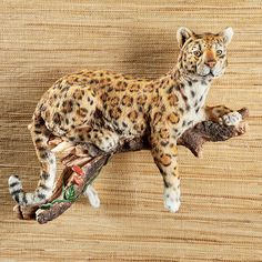 Hand-Painted Realistic Watchful Leopard Hanging Wall Figurine   Collections Etc. Leopard Wall, Sun Wall Decor, Wildlife Decor, Solar String Lights, Collections Etc, Wall Sculptures, Big Cats, Bird Houses, Indoor Outdoor