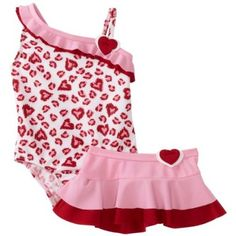 Baby Bunz Girls Infant Leopard Love Swimsuit With Skirt $17.99