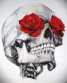 Skull with roses for eyes