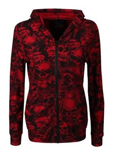 Queen Of Darkness Multi Skull Ladies Red Hoodie - Buy Online at Grindstore.com