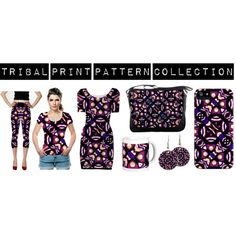 Tribal print fashionset homedecor and accessories collection with abstract geometric pattern design digital art style in vivid colorful tones.  outfit for women, cloth for women, printed outfit for women, tribal print outfit for women, tribal print accessories for women, tribal print homedecor