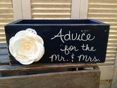 Distressed Navy Blue and White Advice for the Mr. and Mrs. Wedding Box Navy Blue Wedding Decor