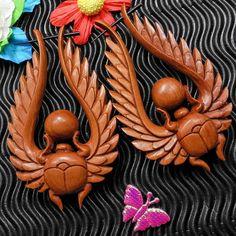Scarab Beetle Carved Wood Organic Tribal Fake Gauge by TribalGauge, $15.00