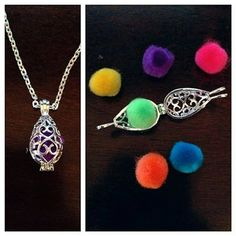 Silver Filigree Teardrop Brass Cage Pendant - aroma necklace - (diffuser) - for essential oils - 16 inch