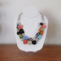 Statement Double Strand Large Beads of Glass And Ceramic On A Large Link Chain, Set, Necklace, Bracelet, Earrings