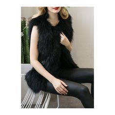 Rotita Artificial Fur Brown Vest ($29) ❤ liked on Polyvore featuring outerwear, vests, black, fur waistcoat, brown waistcoat, vest waistcoat, brown fur vest and faux-fur vests