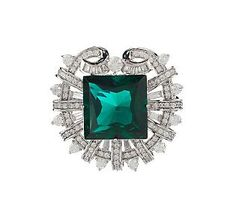 This #Emerald Smithsonian Simulated Hooker piece is doing double duty.  Able to be worn as a Pin or a Pendant (comes with chain), this beautiful treasure will add a bite of shine to any outfit.