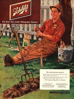 1951 Schlitz Beer print ad vintage decor by catchingcanaries