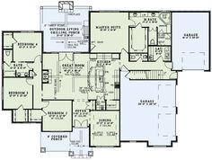Craftsman Style House Plan - 4 Beds 3.5 Baths 2470 Sq/Ft Plan #17-2560 Floor Plan - Main Floor Plan - Houseplans.com