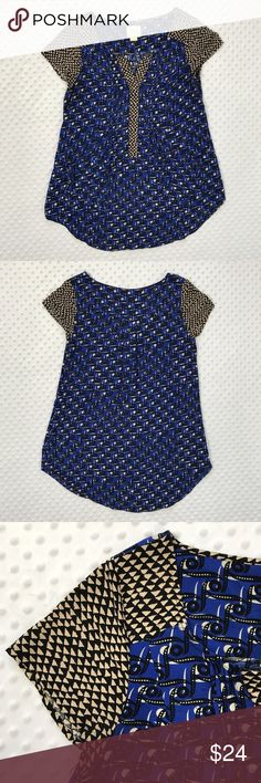 Anthropologie Maeve Pocket Tunic Size 6 Item: Anthropologie Maeve Shirt Tunic Womens Blue Geometric Pocket Tunic Top Size 6 Size: 6 Refer to measurements below for accurate fit! Measured flat:  19       inches armpit to armpit 29       inches from collar seam to shirttail        Base Color:  Blue  Fabric: Rayon Anthropologie Tops Tunics