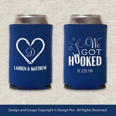 We Got Hooked Fishing Wedding Koozie by designpro1 on Etsy  Change phase to: they fell in love...hook, line and sinker.