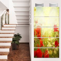 Designart 'Grunge Background with Poppies' Modern Floral Glossy Metal Wall Art