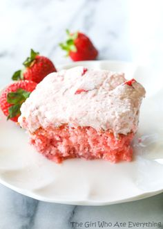 Strawberries and Cream Sheet Cake - The Girl Who Ate Everything