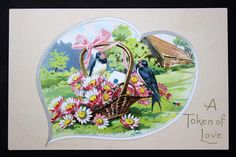 Heart Illustration, Saint Valentine, Blue Bird, Saints, Birds, Flowers, Bird, Florals, Flower