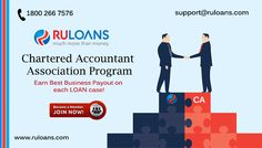 Join our CA Association Program & Earn Best Business Payout ! - ‪#‎Ruloans‬ For more details visit - https://www.ruloans.com/cms/ruloans-association-program-for-chartered-accountant