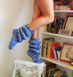 inspiration: crochet slipper boots by Pam Cornett