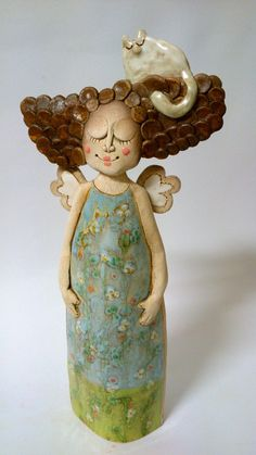Andělka ani trošku korpulentní / Zboží prodejce Akoča a Ufola Pottery Sculpture, Sculpture Art, Pottery Angels, Guys And Dolls, Here Kitty Kitty, Air Dry Clay, Woman Painting, Fabric Dolls, Clay Art