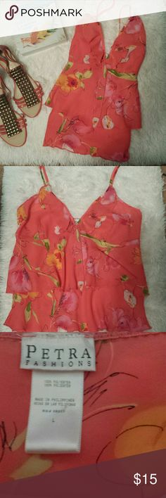 Gorgeous Summer Top sz Large Excellent condition  100% polyester.  Adjustable straps. Looks so good with white jeans or capris. Petra Fashions Tops