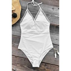 Cupshe Angel's Wings Halter One-piece Swimsuit ($25) ❤ liked on Polyvore featuring swimwear and one-piece swimsuits