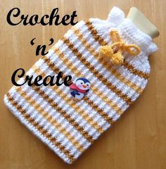 Crochet stripey cozy to brighten up your hot water bottle in those cold winter months, acts as an extra layer between the bottle and your skin Crochet Cozy, Crochet Gifts, Free Crochet, Crochet Bags, Knitting Patterns, Water Bottle Covers, Yarn Inspiration, Crochet Home Decor, Sacks