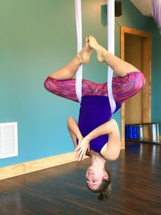 Aerial yoga pose Back straddle. Wearing Prana clothing. | Girl in the Raw