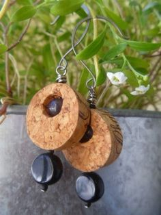 Items similar to Sensual N Smokey Wine Cork Earrings on Etsy