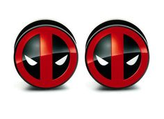 Pair of Acrylic Deadpool ear plug gauges tunnel by Caspianbodyarts, $14.99