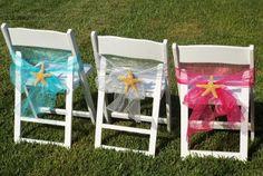 White Wedding Chairs, Fuchsia Organza Chair Sashes, Aqua Organza Chair Bows, Silver Organza Chair Sash, Starfish Chair Ornaments, Ceremonies by the Sea