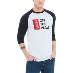 b59556662 Vans Otw Raglan 3 Quarter Mens T shirt Long Sleeve White Black All Sizes