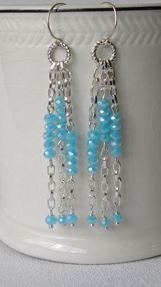Aqua Crystal Long Drop Handmade Beaded by bdzzledbeadedjewelry, $14.00
