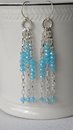 Aqua Crystal Long Drop Handmade Beaded by bdzzledbeadedjewelry, $14.00