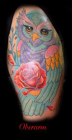 Tattoo,Eule,Rose