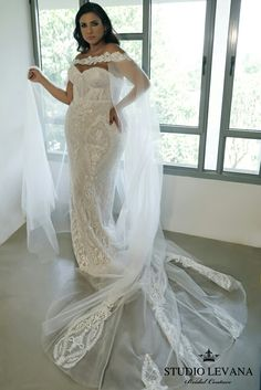 Plus size modern lace mermaid wedding gown with cape. Madlene. Studio Levana