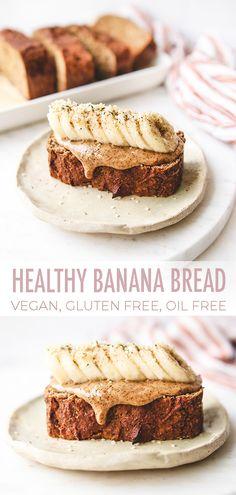 Best Healthy Banana Bread [vegan, gluten free, oil free] Healthy, moist and easy-to-make vegan banana bread. Gluten free, oil free and refined sugar free. Desserts Végétaliens, Desserts Sains, Health Desserts, Gluten Free Desserts, Healthy Gluten Free Snacks, Healthy Sweet Snacks, Healthy Kids, Best Healthy Banana Bread Recipe, Healthy Bread Recipes