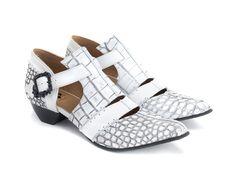 Alisha - White Croc | T-strap heel with skull buckle | Fluevog Shoes