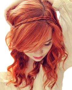 sometimes i wish my hair were red. love her hair color Braided Bangs and Long Hair. I want my long hair back! Love the hair down! Her hair. Popular Hairstyles, Pretty Hairstyles, Braid Hairstyles, Style Hairstyle, Vintage Hairstyles, Hairstyle Ideas, Hairstyles Haircuts, Wedding Hairstyles, Girly Hairstyles