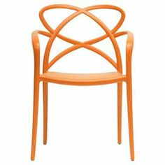 """Showcasing an openwork design and orange finish, this eye-catching arm chair brings a pop of style to your living room or den.  Product: Set of 2 chairsConstruction Material: PlasticColor: OrangeFeatures:  Non-marking feetStackable18"""" Seat height Dimensions: 32.25"""" H x 22.375"""" W x 21.5"""" D"""