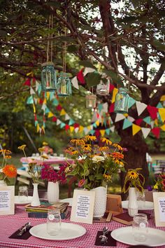 Love the hanging lanterns and pennant banner