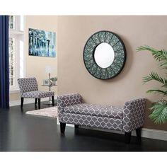 Dorel Home Products Trellis Pattern Storage Bench, Grey/White