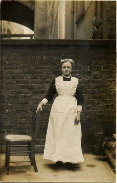 Vintage Real Photo Postcard - Victorian/Edwardian Housemaid c. 1900s. £3.00, via Etsy.