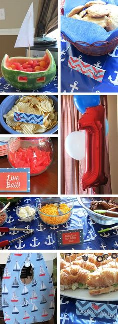 Ideas for throwing a nautical, sailboat, or anchor themed party - decorations and menu! Watermelon sailboat, smash cake, birthday bib, for baby, nautical decor, and themed party food!