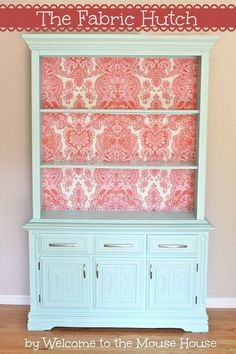 New sewing hutch! Use fabric. Love this idea... Not the fabric