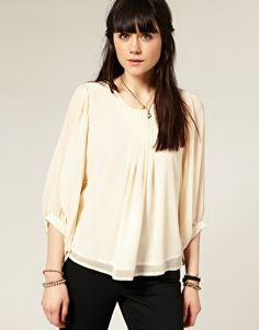 pleat front batwing top $46