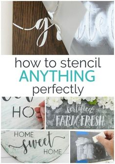 How to stencil anything perfectly. These stencil hacks will hep you get a perfect finish every single time. How to stencil anyth Stencil Decor, Stencil Wood, Stencil Painting, Painting Letters, Stencils For Wood Signs, Diy Wood Signs, Home Crafts, Crafts To Make, Diy Crafts