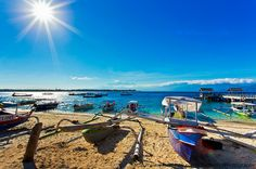 Beautiful beaches of Gili Island, Lombok, Indonesia (with Mount Rinjani in the horizon)   travelling guide city guide for travel holidays info places to visit vacation spot