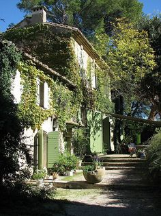 Ivy green shutters; Jardin du Vallon Raget, Saint-Etienne-du-Grès