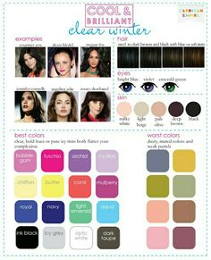 A Guide for Deep Winter Palettes. Who are other celebrities that are deep winter? - A Guide for Deep Winter Palettes. Who are other celebrities that are deep winter? Paleta Deep Winter, Deep Winter Palette, Deep Winter Colors, Deep Autumn, Cool Winter Color Palette, Color Me Beautiful, Cool Skin Tone, Cool Tones, Good Skin
