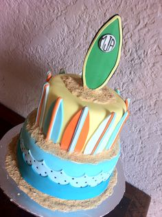 Surfing baby shower cake with surfboards. Feeds 25-30. MSRP $110