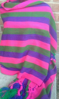 Vintage 80's Mexican Striped Rebozo Shawl  #Unbranded