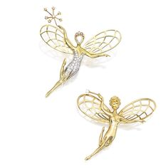 PAIR OF 18 KARAT GOLD AND DIAMOND FAIRY BROOCHES, VAN CLEEF & ARPELSDesigned as two winged fairies bearing wands, one with her dress, wand and tiara set with round and single-cut diamonds weighing approximately 1.00 carat, the face set with a pear-shaped rose-cut diamond weighing approximately .20 carat, gross weight approximately 8 dwts; the second fairy's face set with an oval-shaped yellow sapphire, the wand accented by one round diamond, gross weight approximately 10 dwts
